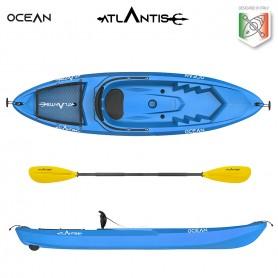 Kayak-canoa Atlantis OCEAN blu cm 266 - schienalino - ruotino - pagaia