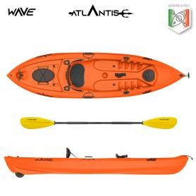 Kayak-canoa WAVE ATLANTIS arancio- 2 gavoni + seggiolino + pagaia + ruotino + portacanna