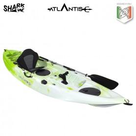 Kayak-canoa SHARK ATLANTIS lime/bianco - 2 gavoni + seggiolino + pagaia +  portacanna