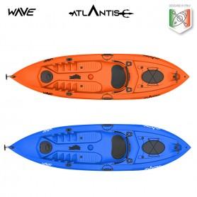 Kayak-canoa WAVE ATLANTIS arancio- 2 gavoni + seggiolino + pagaia + ruotino + portacanna OMAGGIO elastico per pagaia