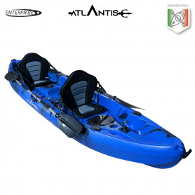 Kayak-canoa 2 posti Atlantis ENTERPRISE cm 385 blu/nera - 2 gavoni - 2 seggiolino - 2 pagaie - 2 portacanne