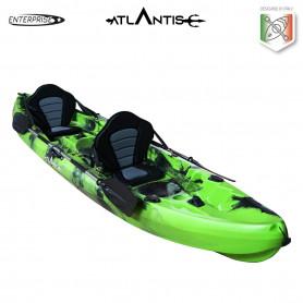 Kayak-canoa 2 posti Atlantis ENTERPRISE cm 370  verde/nera - 2 gavoni - 2 seggiolino - 2 pagaie - 2 portacanne