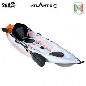 Kayak-canoa Atlantis SHARK EVOLUTION  arancio/bianco cm 280 - 2 gavoni - seggiolino - pagaia - portacanna