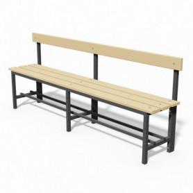 Panca spogliatoio in acciaio con seduta e schienale  2mt