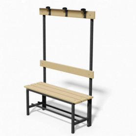Panca spogliatoio in acciaio con seduta, schienale e appendiabiti 1 mt