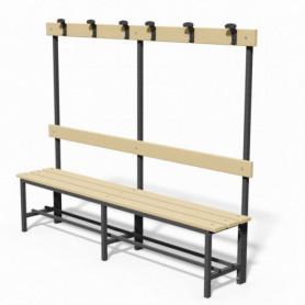 Panca spogliatoio in acciaio con seduta, schienale e appendiabiti 2 mt