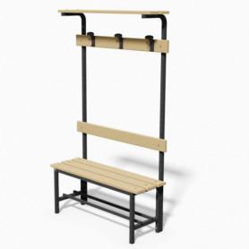 Panca spogliatoio in acciaio con seduta, schienale, appendiabiti e pianoborse 1 mt
