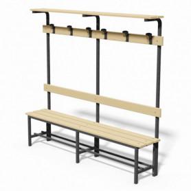 Panca spogliatoio in acciaio con seduta, schienale, appendiabiti e pianoborse 2 mt