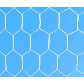 Coppia reti calcio ridotte per porte 4x2 in treccia polipropilene diam. 3 mm. stabilizzato U.V., lavorazione senza nodo