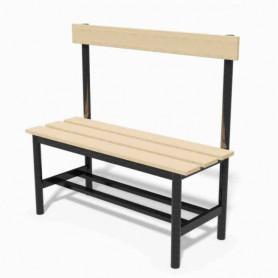 Panca spogliatoio in acciaio con seduta e schienale  1 mt