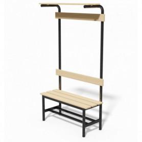 Panca in acciaio spogliatoio con seduta, schienale, appendiabiti e pianoborse 2 mt