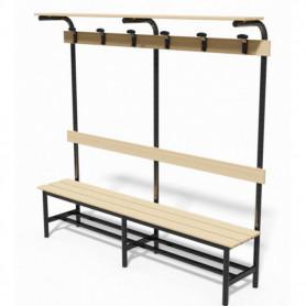 Panca in acciaio spogliatoio con seduta, schienale, appendiabiti e pianoborse 1 mt