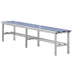 Panca spogliatoio in alluminio solo seduta 2 mt inserto pvc blu