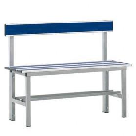Panca spogliatoio in alluminio con seduta e schienale 1 mt inserto pvc blu