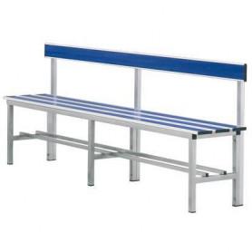 Panca spogliatoio in alluminio con seduta e schienale 2 mt inserto pvc blu