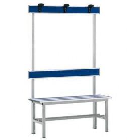 Panca spogliatoio in alluminio con seduta, schienale e appendiabiti 1 mt inserto pvc blu