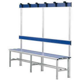 Panca spogliatoio in alluminio con seduta, schienale e appendiabiti 2 mt inserto pvc blu