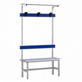 Panca spogliatoio in alluminio con seduta, schienale, appendiabiti e pianoborse 1 mt inserto pvc blu