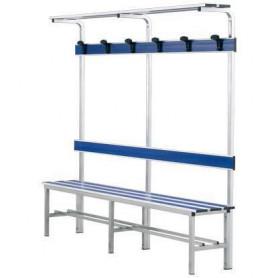 Panca spogliatoio in alluminio con seduta, schienale, appendiabiti e pianoborse 2 mt inserto pvc blu