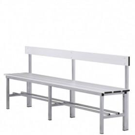 Panca spogliatoio in alluminio con seduta e schienale 2 mt