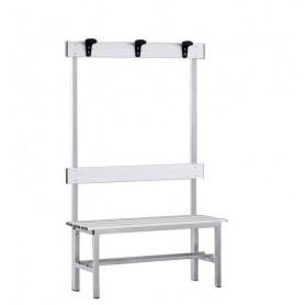 Panca spogliatoio in alluminio con seduta, schienale e appendiabiti 1 mt