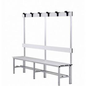 Panca spogliatoio in alluminio con seduta, schienale e appendiabiti 2 mt