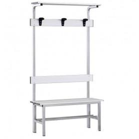 Panca spogliatoio in alluminio con seduta, schienale, appendiabiti e pianoborse 1 mt