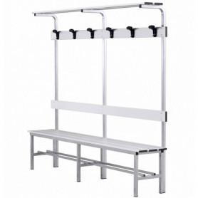 Panca spogliatoio in alluminio con seduta, schienale, appendiabiti e pianoborse 2 mt