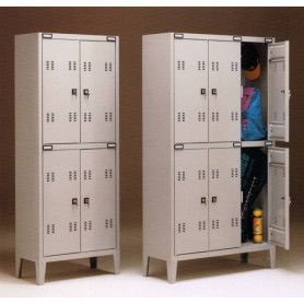 Armadio spogliatoio metallico a 2 posti sovrapposti 180x70x35 cm