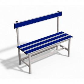 Panca spogliatoio con seduta e schienale  1 mt tubo rotondo inserto in pvc blu