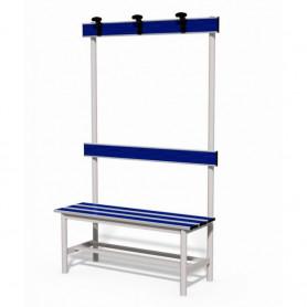 Panca spogliatoio con seduta, schienale e appendiabiti 1 mt tubo rotondo inserto in pvc blu