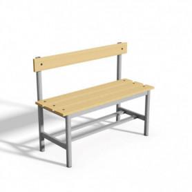 Panca spogliatoio con seduta e schienale  1 mt tubo rotondo doghe in legno