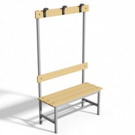 Panca spogliatoio con seduta, schienale e appendiabiti 1 mt tubo rotondo doghe in legno