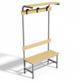 Panca spogliatoio con seduta, schienale, appendiabiti e pianoborse 1 mt tubo rotondo doghe in legno