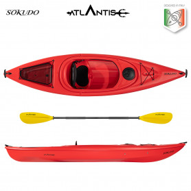 Kayak-canoa Atlantis SOKUDO rossa cm 305 - schienalino - pagaia