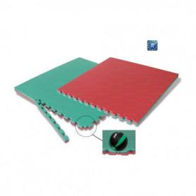 Tappeto ad incastro cm. 100x100x4, bicolore rosso e verde,cm. 100x100x4