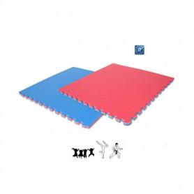 Tappeto  ad incastro cm. 100x100x2, bicolore rosso e blu