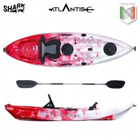 Kayak-canoa Atlantis SHARK EVOLUTION  rosso/bianco cm 280 - 2 gavoni - seggiolino - pagaia - portacanna