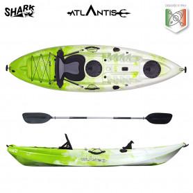 Kayak-canoa Atlantis SHARK EVOLUTION lime/bianco cm 280 - 2 gavoni - seggiolino - pagaia - portacanna
