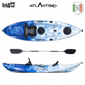 Kayak-canoa Atlantis SHARK EVOLUTION blu/bianco cm 280 - 2 gavoni - seggiolino - pagaia - portacanna