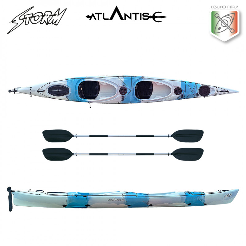 Kayak-canoa Atlantis STORM - cm 540- timone - 2 sedute - 1 gavone - 2 pagaie
