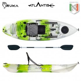 Kayak-canoa Atlantis IRUKA lime/bianco - cm 285 - seggiolino - portacanna - pagaia