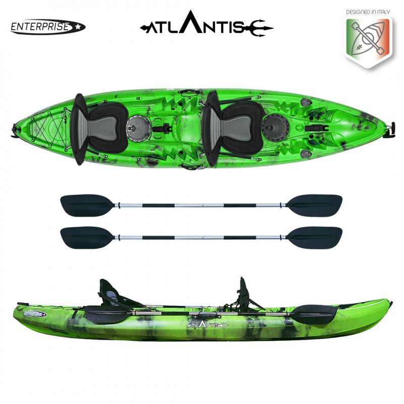 Kayak-canoa 2 posti Atlantis ENTERPRISE EVOLUTION cm 385  verde/nera - 2 gavoni - 2 seggiolino - 2 pagaie - 2 portacanne