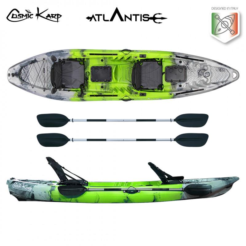 Kayak-canoa Atlantis COSMIC KARP cm 390 verde/grigia - 2 gavoni - 2 seggiolini - 2 pagaie
