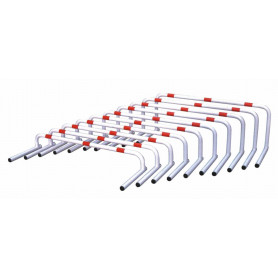 Set da 10 ostacoli Ostacolini over in acciaio verniciato bianco con fasce rosse, tubo rotondo diam. 25 mm.