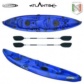 Kayak-canoa 2 posti Atlantis ENTERPRISE cm 385 blu/nera - 2 gavoni - 2 pagaie - 2 portacanne