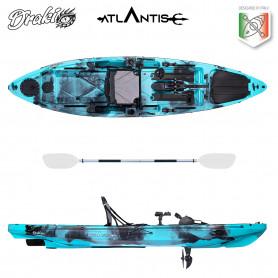 Kayak-canoa ad elica Atlantis DRAKI blu cm 366 - 2 gavoni -  seggiolino - pagaia - timone