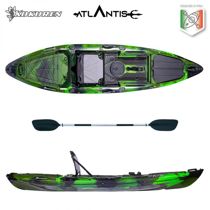 Kayak-canoa Atlantis KOKUREN verde/nero - cm 330 - seggiolino - portacanna - pagaia