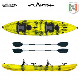 Kayak-canoa 2 posti Atlantis ENTERPRISE EVOLUTION cm 385  giallo/nera - 2 gavoni - 2 seggiolino - 2 pagaie - 2 portacanne