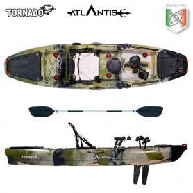Kayak-canoa Atlantis TORNADO a pedali jungle - cm 300 - seggiolino - 2 portacanna - pagaia - 2 gavoni